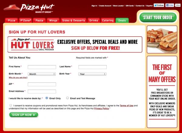 pizza hut sms marketing