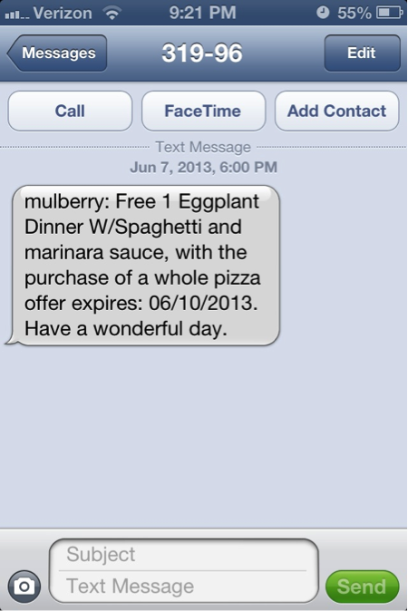 Text Marketing Message Example